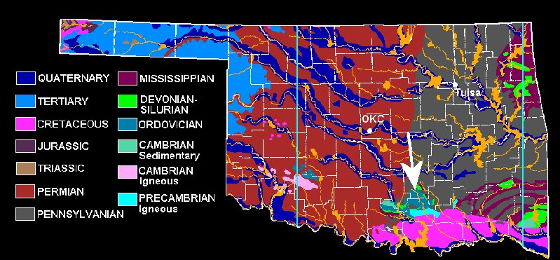This Map Correlates Location And Age Of The Oklohoma Geology Closest To The Devonian Haragan And Bois D Arc Fformation Is The Town Is Clarita